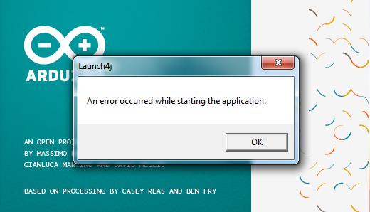 Arduino launch4j error